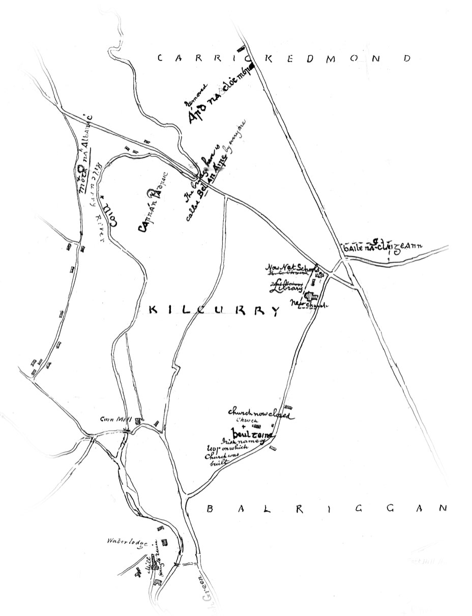 1902 local map of Kilcurry drawn by Eugene O'Gorman showing forgotten Beulteine placename now Tinley's Church.